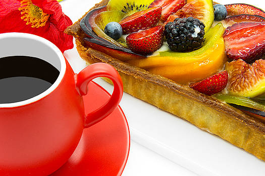 Cup of coffee and  fruit cake by Nika Lerman