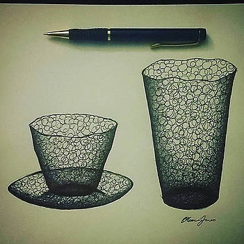Cups And Plate by Olivia Jones