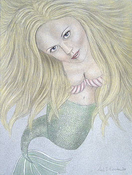 Curious Mermaid - Graphite and Colored Pastel Chalk by Nicole I Hamilton