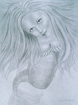 Curious Mermaid - Graphite and White Pastel Chalk by Nicole I Hamilton
