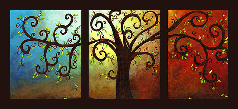 Curly Tree Triptych by Elaine Hodges