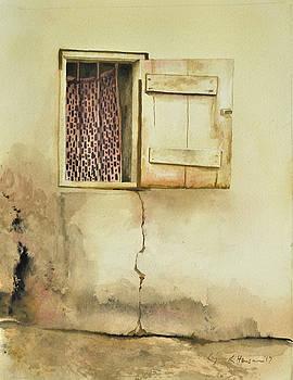 Curtain in Window by Lynn Hansen
