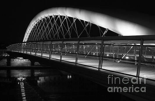 Curved Footbridge b/w by John Janicki
