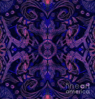 Curves and lotuses, abstract pattern, ultra-violet by Julia Khoroshikh