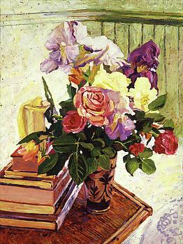 Cut Iris and Roses by David Lloyd Glover