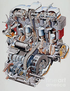 Cutaway illustration of Honda K2 motorbike engine by Science Photo Library
