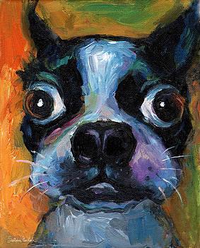 Svetlana Novikova - Cute Boston Terrier puppy art