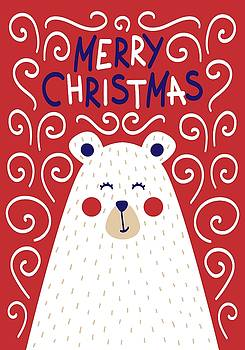 Cute Christmas card with a picture of a bear in a Scandinavian s by Christopher Meade