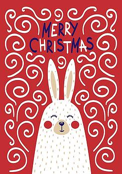 Cute Christmas card with a rabbit in a Scandinavian Style by Christopher Meade