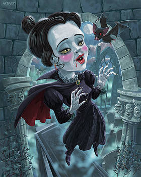 Cute Gothic Horror Vampire Woman by Martin Davey