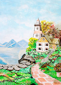 Cute little house next to the sea. by Rasirote Buakeeree