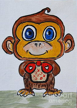 Cute Monkey - My best behavior #657 by Ella Kaye Dickey