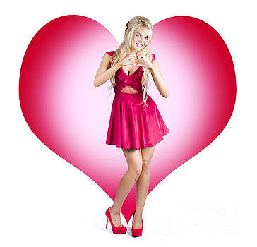 Cute Pinup Woman On Love Heart Symbol Background by Jorgo Photography - Wall Art Gallery