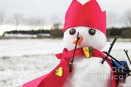 Cute snowmen dressed as a king with crown and cape by Simon Bratt Photography LRPS