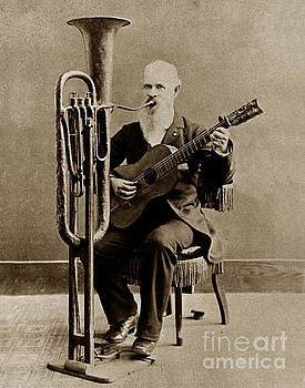 California Views Archives Mr Pat Hathaway Archives - C. W. J. Johnson with his one-man band invention 1880