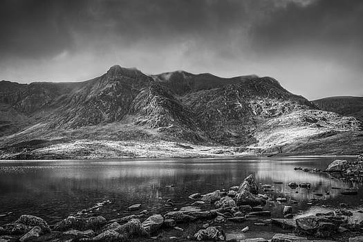 Cwm Idwal Reflections Black and White by Christine Smart