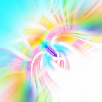 Cyan Rainbow Abstract by Phill Petrovic