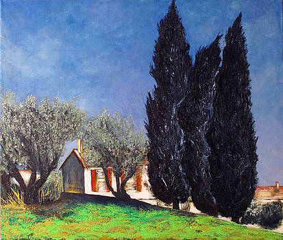 Cypresses and olive trees by Vladimir Kezerashvili