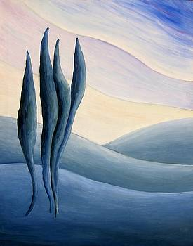 Cypresses on hills. by Alberto V  Donati