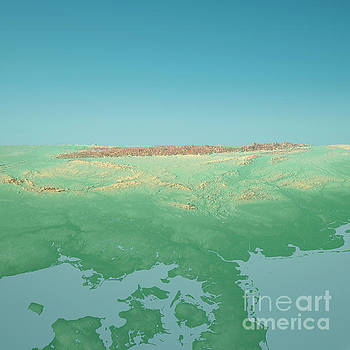 D-A-CH Countries 3D Render Topographic Landscape View From North by Frank Ramspott