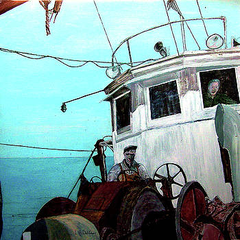 Dad in the Superior's wheelhouse by Laurence Dahlmer
