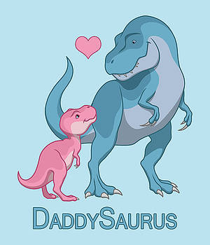 Daddy Tyrannosaurus Rex Baby Girl by Crista Forest