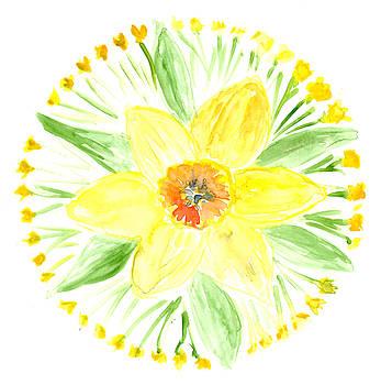 Daffodil Botanical Mandala by Louise Gale