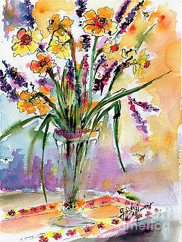 Daffodils and Lavender Spring Still Life by Ginette Callaway