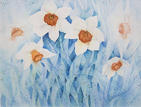 Daffodils in Blue by Lisa Vincent