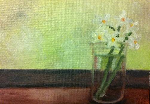 Daffodils in jar by Marina Garrison