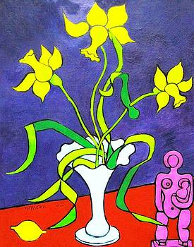 Daffodils with Abstract Sculpture by Nicholas Martori