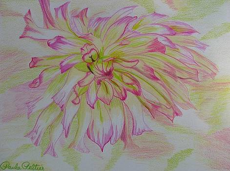 Dahlia in Pink and Green by Paula Peltier