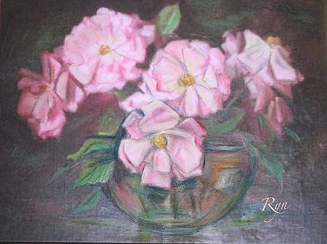 Dainty Pink Rose in Glass Bowl by Ryn Shell