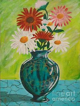 Daisies and Blue Vase by John Lyes