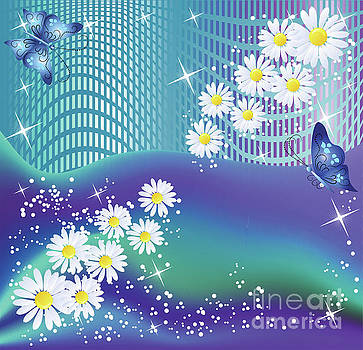 Daisies and Butterflies on blue background by Heinz G Mielke