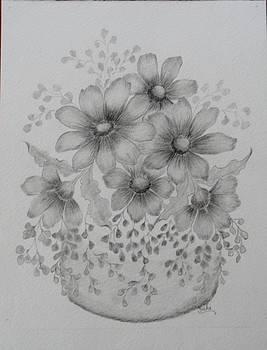 Daisies with Maidenhair Fern by Vicki Thompson