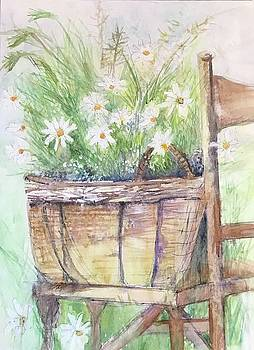 Daisys Sitting on a Chair by Donna Eaton