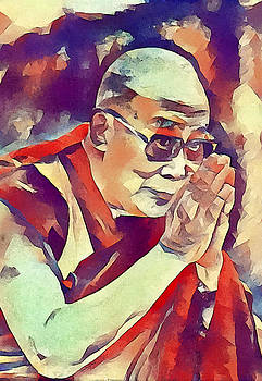 Dalai Lama Offers Prayer by Stacey Chiew