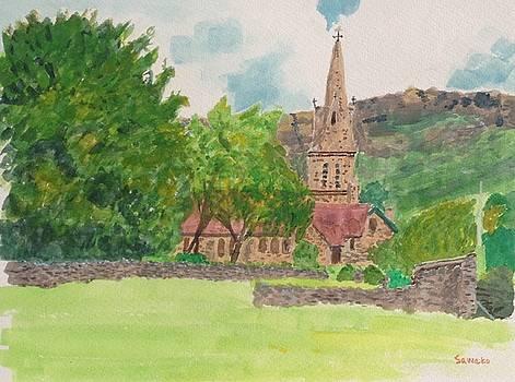 Edale church and beautiful landscape by Sawako Utsumi