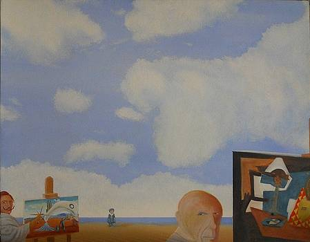 Dali and Magritte on Beach by Michael Steven Nicolaou