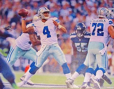Dallas Cowboys Quarterback #4 Dak Prescott by Donna Wilson