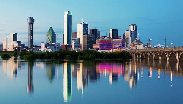 Dallas Skyline Mirror 53016 by Rospotte Photography