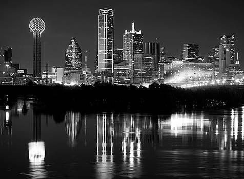 Dallas Skyline Reflection BW 11916 by Rospotte Photography