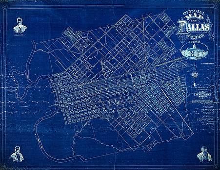 Dallas Texas Official 1875 City Map Blueprint Butterfield and Rundlett by Peter Gumaer Ogden