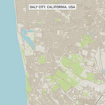 Daly City California US City Street Map by Frank Ramspott