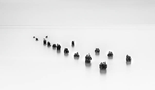 Damaged wooden poles of an old pier in the ocean. by Michalakis Ppalis
