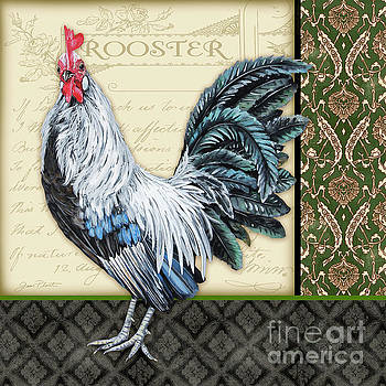 Damask Rooster-B by Jean Plout