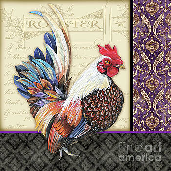 Damask Rooster-C by Jean Plout