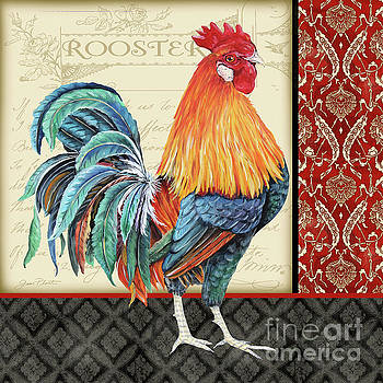 Damask Rooster-D by Jean Plout