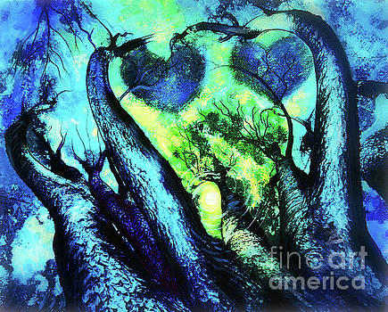 Dance of the forest, two hearts by Gina Signore